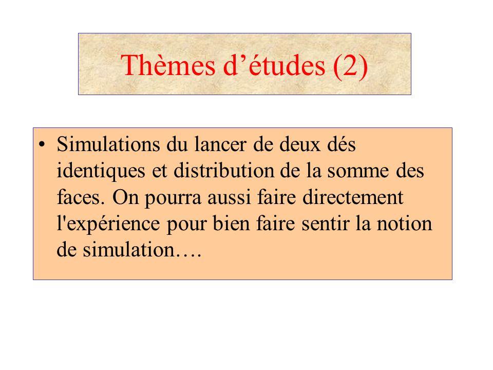 Thèmes détudes (2) Simulations du lancer de deux dés identiques et distribution de la somme des faces. On pourra aussi faire directement l'expérience