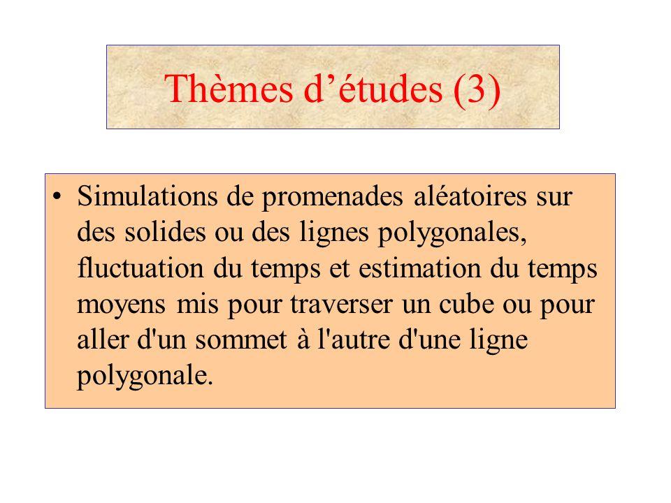 Thèmes détudes (3) Simulations de promenades aléatoires sur des solides ou des lignes polygonales, fluctuation du temps et estimation du temps moyens