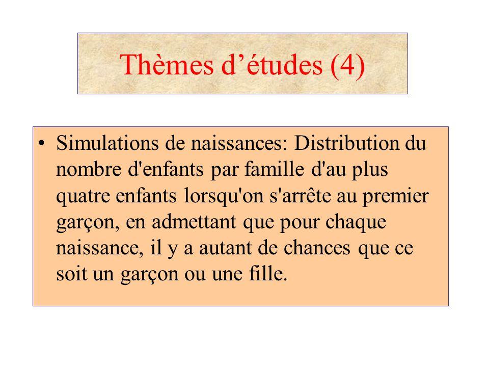 Thèmes détudes (4) Simulations de naissances: Distribution du nombre d'enfants par famille d'au plus quatre enfants lorsqu'on s'arrête au premier garç