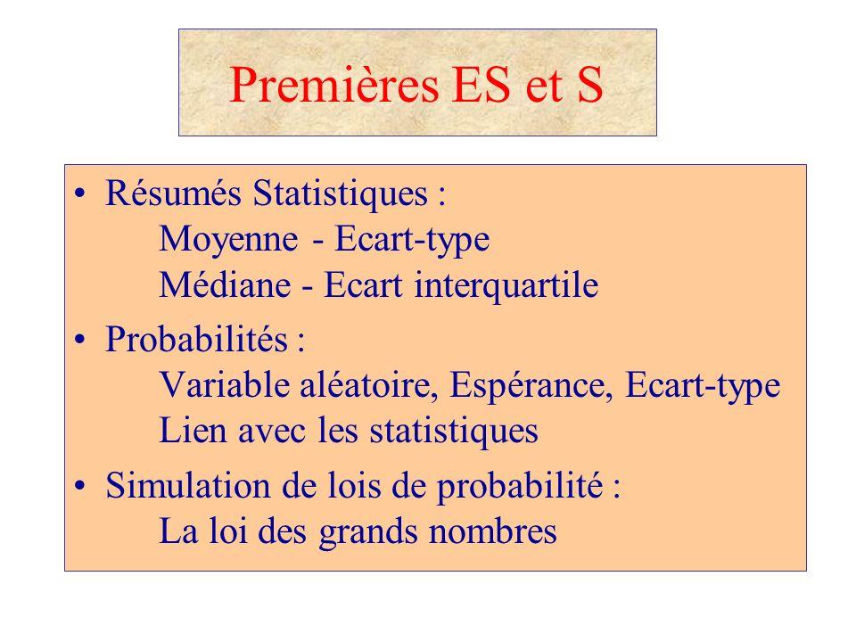 Premières ES et S Résumés Statistiques : Moyenne - Ecart-type Médiane - Ecart interquartile Probabilités : Variable aléatoire, Espérance, Ecart-type L