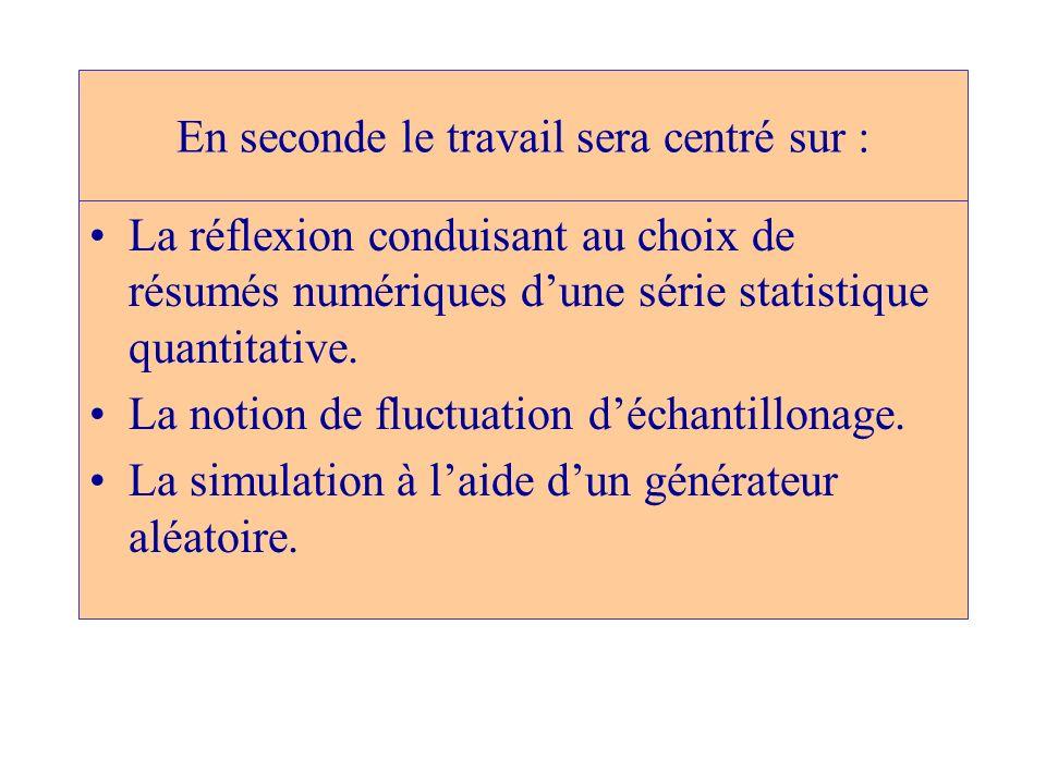 En seconde le travail sera centré sur : La réflexion conduisant au choix de résumés numériques dune série statistique quantitative. La notion de fluct
