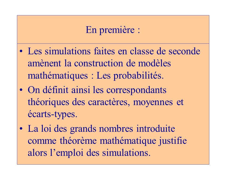 En première : Les simulations faites en classe de seconde amènent la construction de modèles mathématiques : Les probabilités. On définit ainsi les co