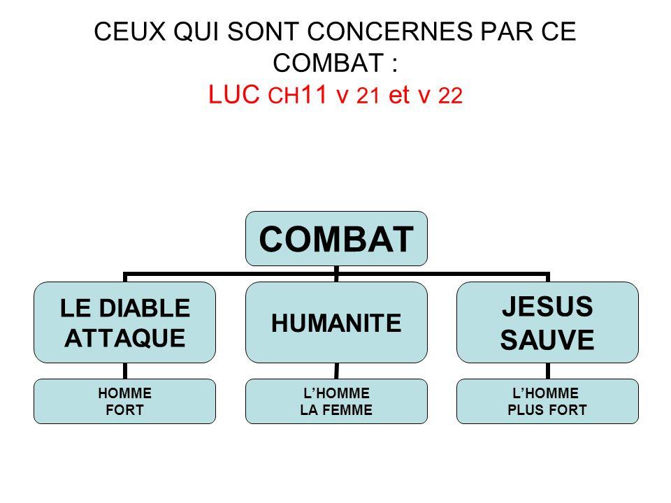 CEUX QUI SONT CONCERNES PAR CE COMBAT : LUC CH 11 v 21 et v 22 COMBAT LE DIABLE ATTAQUE HOMME FORT HUMANITE LHOMME LA FEMME JESUS SAUVE LHOMME PLUS FO
