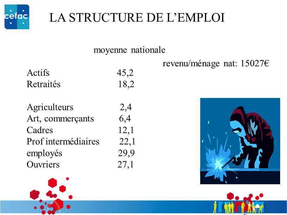 LA STRUCTURE DE LEMPLOI moyenne nationale Actifs 45,2 Retraités 18,2 Agriculteurs 2,4 Art, commerçants 6,4 Cadres 12,1 Prof intermédiaires 22,1 employ