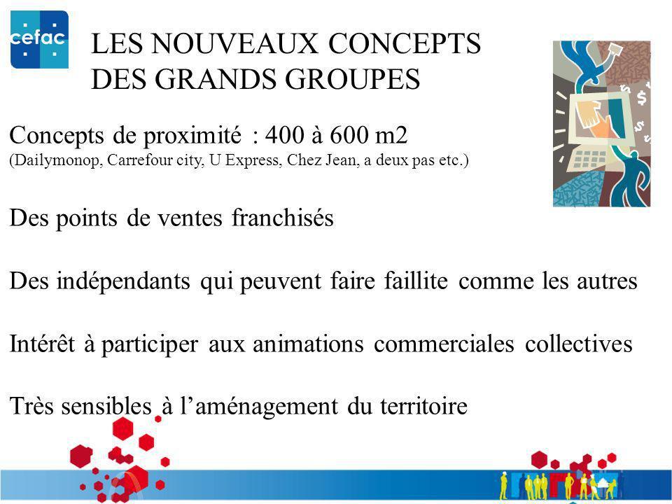LES NOUVEAUX CONCEPTS DES GRANDS GROUPES Concepts de proximité : 400 à 600 m2 (Dailymonop, Carrefour city, U Express, Chez Jean, a deux pas etc.) Des