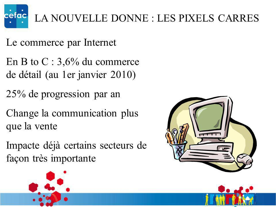 LA NOUVELLE DONNE : LES PIXELS CARRES Le commerce par Internet En B to C : 3,6% du commerce de détail (au 1er janvier 2010) 25% de progression par an