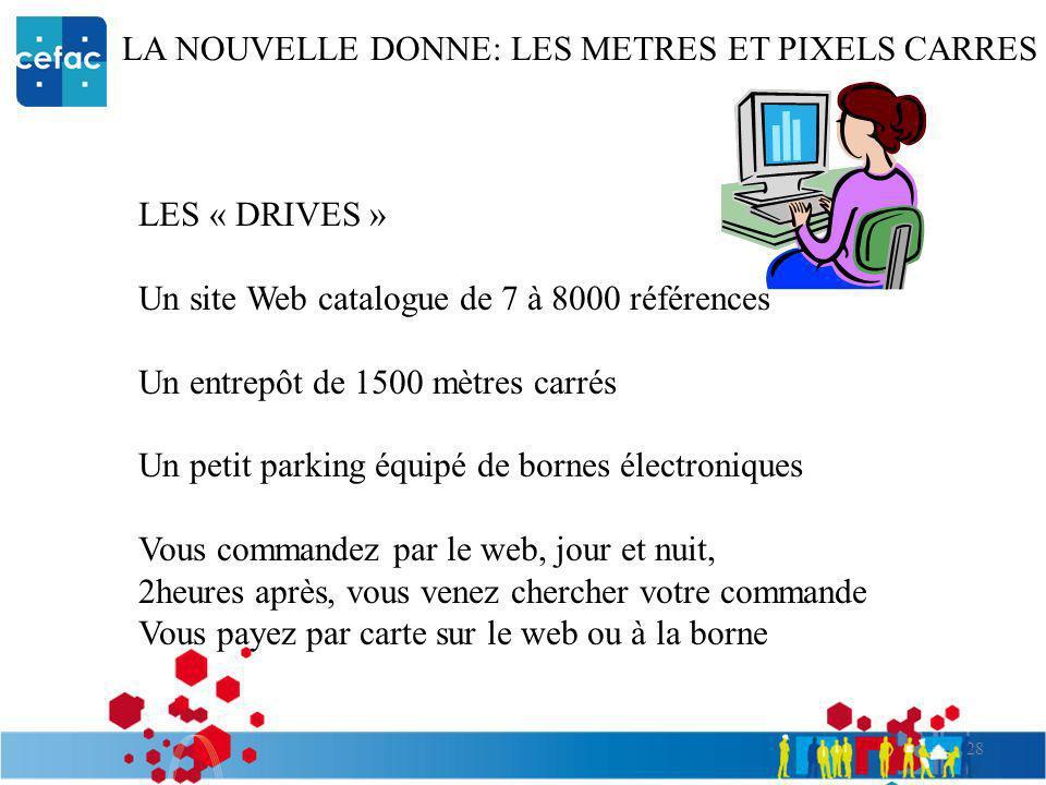28 LA NOUVELLE DONNE: LES METRES ET PIXELS CARRES LES « DRIVES » Un site Web catalogue de 7 à 8000 références Un entrepôt de 1500 mètres carrés Un pet
