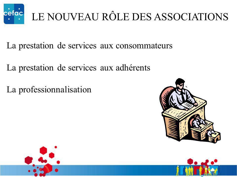 LE NOUVEAU RÔLE DES ASSOCIATIONS La prestation de services aux consommateurs La prestation de services aux adhérents La professionnalisation