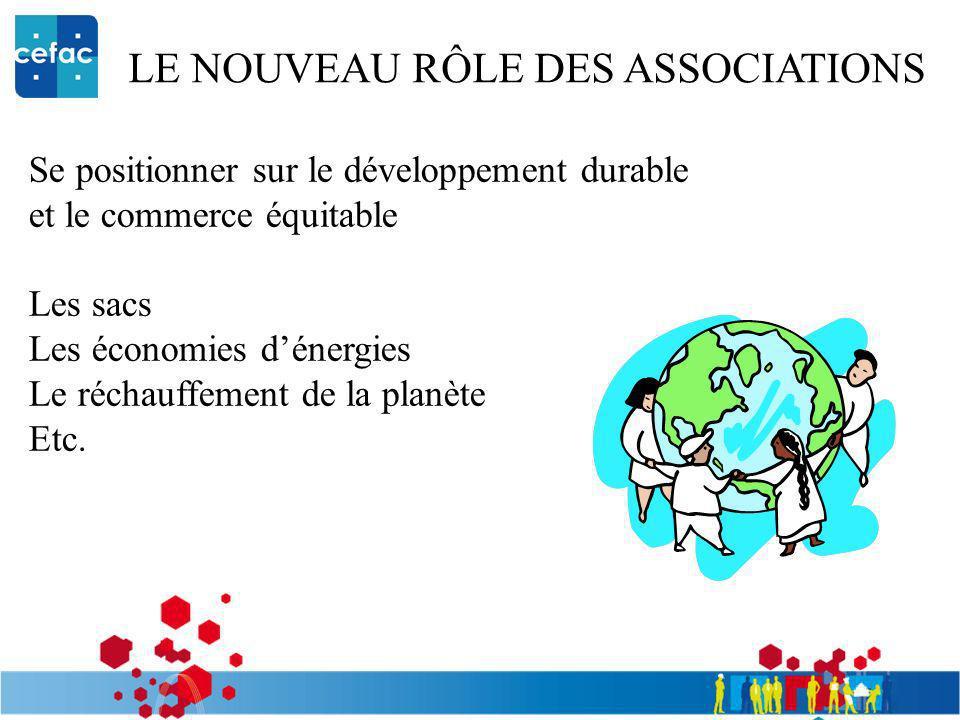 LE NOUVEAU RÔLE DES ASSOCIATIONS Se positionner sur le développement durable et le commerce équitable Les sacs Les économies dénergies Le réchauffemen