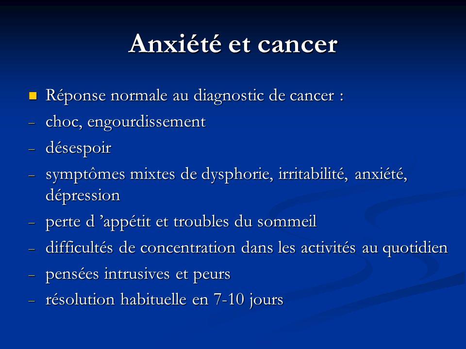 Anxiété et cancer Réponse normale au diagnostic de cancer : Réponse normale au diagnostic de cancer : choc, engourdissement choc, engourdissement dése