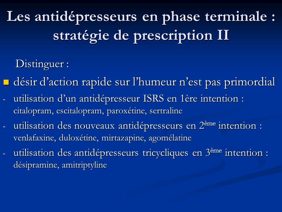 Les antidépresseurs en phase terminale : stratégie de prescription II Distinguer : Distinguer : désir daction rapide sur lhumeur nest pas primordial d