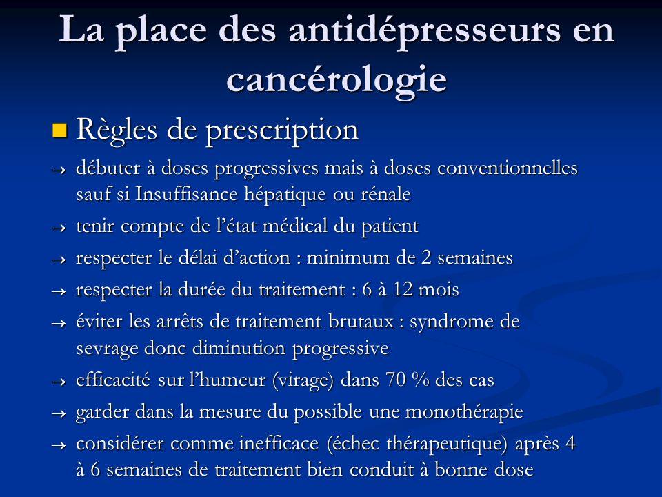 La place des antidépresseurs en cancérologie Règles de prescription Règles de prescription débuter à doses progressives mais à doses conventionnelles