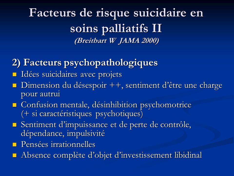 Facteurs de risque suicidaire en soins palliatifs II (Breitbart W JAMA 2000) 2) Facteurs psychopathologiques Idées suicidaires avec projets Idées suicidaires avec projets Dimension du désespoir ++, sentiment dêtre une charge pour autrui Dimension du désespoir ++, sentiment dêtre une charge pour autrui Confusion mentale, désinhibition psychomotrice (+ si caractéristiques psychotiques) Confusion mentale, désinhibition psychomotrice (+ si caractéristiques psychotiques) Sentiment dimpuissance et de perte de contrôle, dépendance, impulsivité Sentiment dimpuissance et de perte de contrôle, dépendance, impulsivité Pensées irrationnelles Pensées irrationnelles Absence complète dobjet dinvestissement libidinal Absence complète dobjet dinvestissement libidinal