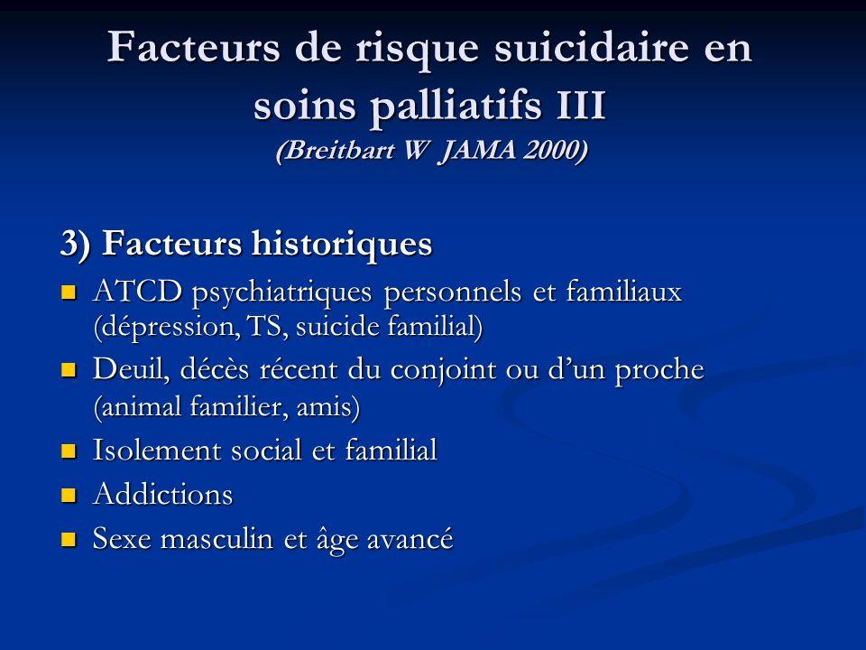 Facteurs de risque suicidaire en soins palliatifs III (Breitbart W JAMA 2000) 3) Facteurs historiques ATCD psychiatriques personnels et familiaux (dép