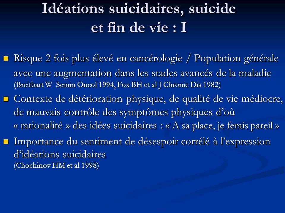 Idéations suicidaires, suicide et fin de vie : I Risque 2 fois plus élevé en cancérologie / Population générale avec une augmentation dans les stades