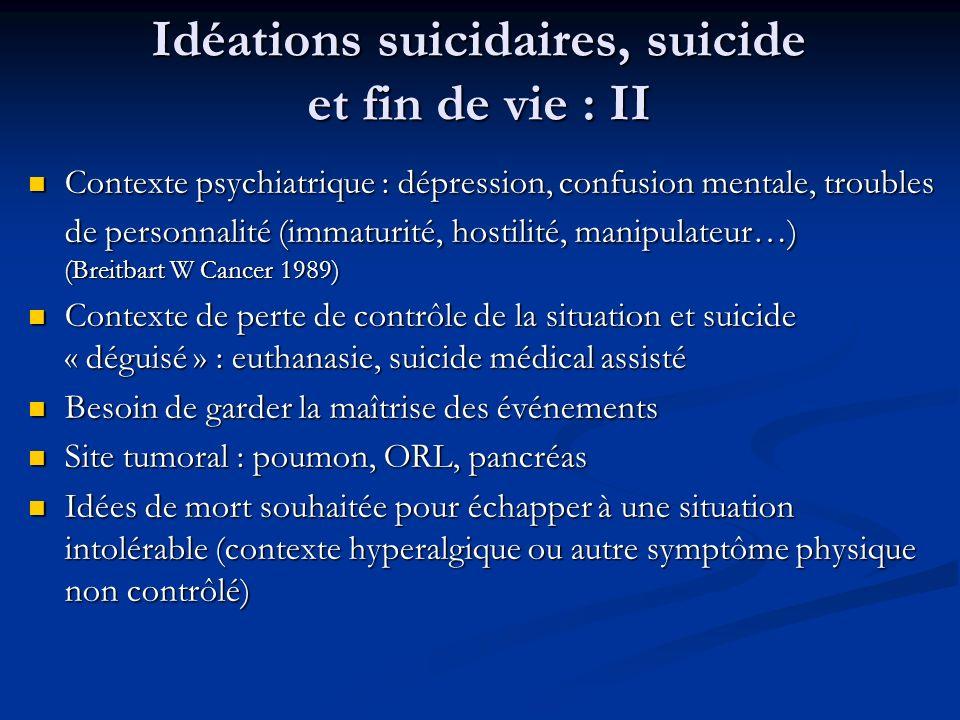Idéations suicidaires, suicide et fin de vie : II Contexte psychiatrique : dépression, confusion mentale, troubles de personnalité (immaturité, hostil