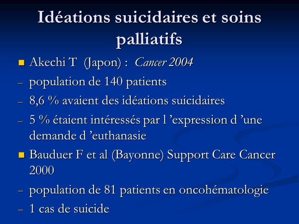Idéations suicidaires et soins palliatifs Akechi T (Japon) : Cancer 2004 Akechi T (Japon) : Cancer 2004 – population de 140 patients – 8,6 % avaient des idéations suicidaires – 5 % étaient intéressés par l expression d une demande d euthanasie Bauduer F et al (Bayonne) Support Care Cancer 2000 Bauduer F et al (Bayonne) Support Care Cancer 2000 population de 81 patients en oncohématologie population de 81 patients en oncohématologie 1 cas de suicide 1 cas de suicide