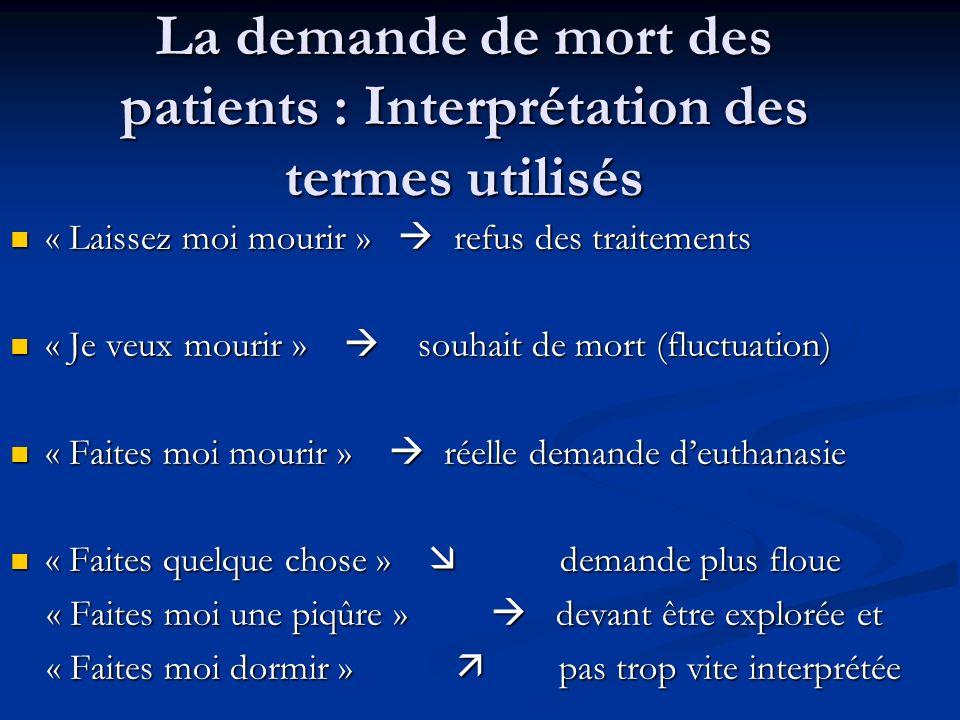 La demande de mort des patients : Interprétation des termes utilisés « Laissez moi mourir » refus des traitements « Laissez moi mourir » refus des tra