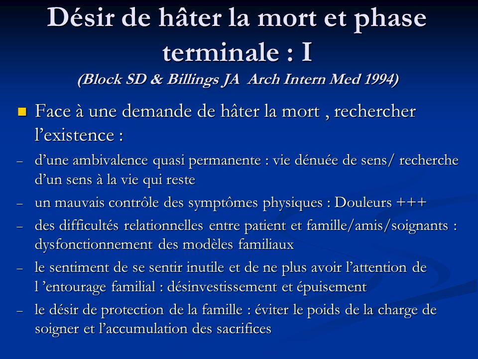 Désir de hâter la mort et phase terminale : I (Block SD & Billings JA Arch Intern Med 1994) Face à une demande de hâter la mort, rechercher lexistence : Face à une demande de hâter la mort, rechercher lexistence : – dune ambivalence quasi permanente : vie dénuée de sens/ recherche dun sens à la vie qui reste – un mauvais contrôle des symptômes physiques : Douleurs +++ – des difficultés relationnelles entre patient et famille/amis/soignants : dysfonctionnement des modèles familiaux – le sentiment de se sentir inutile et de ne plus avoir lattention de l entourage familial : désinvestissement et épuisement – le désir de protection de la famille : éviter le poids de la charge de soigner et laccumulation des sacrifices