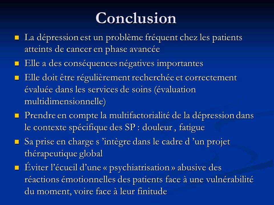 Conclusion La dépression est un problème fréquent chez les patients atteints de cancer en phase avancée La dépression est un problème fréquent chez le
