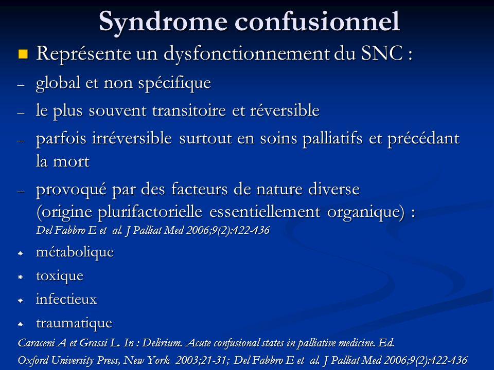 Syndrome confusionnel Représente un dysfonctionnement du SNC : Représente un dysfonctionnement du SNC : – global et non spécifique – le plus souvent t