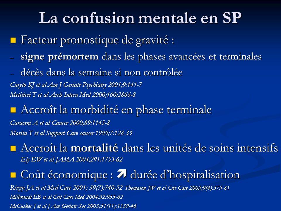 La confusion mentale en SP Facteur pronostique de gravité : Facteur pronostique de gravité : – signe prémortem dans les phases avancées et terminales
