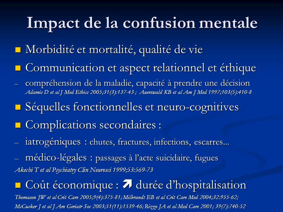 Impact de la confusion mentale Morbidité et mortalité, qualité de vie Morbidité et mortalité, qualité de vie Communication et aspect relationnel et éthique Communication et aspect relationnel et éthique – compréhension de la maladie, capacité à prendre une décision Adamis D et al J Med Ethics 2005;31(3):137-43 ; Auerswald KB et al Am J Med 1997;103(5):410-8 Séquelles fonctionnelles et neuro-cognitives Séquelles fonctionnelles et neuro-cognitives Complications secondaires : Complications secondaires : – iatrogéniques : chutes, fractures, infections, escarres...