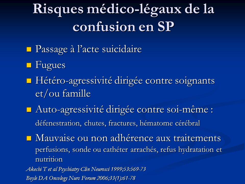 Risques médico-légaux de la confusion en SP Passage à lacte suicidaire Passage à lacte suicidaire Fugues Fugues Hétéro-agressivité dirigée contre soig