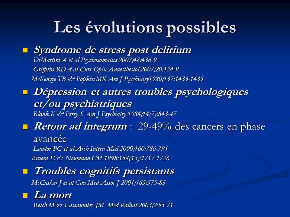 Les évolutions possibles Syndrome de stress post delirium DiMartini A et al Psychosomatics 2007;48:436-9 Syndrome de stress post delirium DiMartini A et al Psychosomatics 2007;48:436-9 Griffiths RD et al Curr Opin Anaesthesiol 2007;20:124-9 Griffiths RD et al Curr Opin Anaesthesiol 2007;20:124-9 McKenzie TB & Popkin MK Am J Psychiatry1980;137:1433-1435 McKenzie TB & Popkin MK Am J Psychiatry1980;137:1433-1435 Dépression et autres troubles psychologiques et/ou psychiatriques Blank K & Perry S Am J Psychiatry 1984;14(7):843-47 Dépression et autres troubles psychologiques et/ou psychiatriques Blank K & Perry S Am J Psychiatry 1984;14(7):843-47 Retour ad integrum : 29-49% des cancers en phase avancée Lawlor PG et al Arch Intern Med 2000;160:786-794 Retour ad integrum : 29-49% des cancers en phase avancée Lawlor PG et al Arch Intern Med 2000;160:786-794 Bruera E & Neumann CM 1998;158(13):1717-1726 Bruera E & Neumann CM 1998;158(13):1717-1726 Troubles cognitifs persistants Troubles cognitifs persistants McCusker J et al Can Med Assoc J 2001;165:575-83 McCusker J et al Can Med Assoc J 2001;165:575-83 La mort Reich M & Lassaunière JM Med Palliat 2003;2:55-71 La mort Reich M & Lassaunière JM Med Palliat 2003;2:55-71