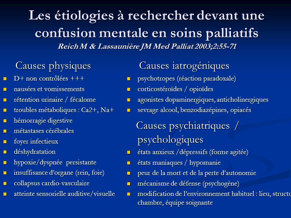 Les étiologies à rechercher devant une confusion mentale en soins palliatifs Reich M & Lassaunière JM Med Palliat 2003;2:55-71 Causes physiques Causes