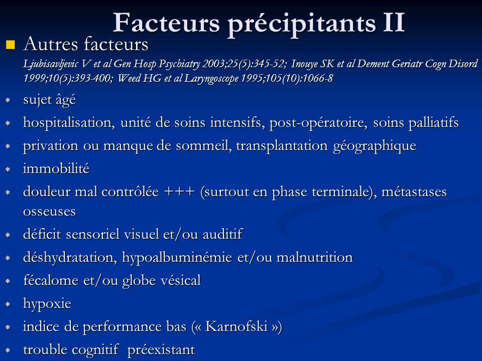 Facteurs précipitants II Autres facteurs Ljubisavljevic V et al Gen Hosp Psychiatry 2003;25(5):345-52; Inouye SK et al Dement Geriatr Cogn Disord 1999;10(5):393-400; Weed HG et al Laryngoscope 1995;105(10):1066-8 Autres facteurs Ljubisavljevic V et al Gen Hosp Psychiatry 2003;25(5):345-52; Inouye SK et al Dement Geriatr Cogn Disord 1999;10(5):393-400; Weed HG et al Laryngoscope 1995;105(10):1066-8 sujet âgé sujet âgé hospitalisation, unité de soins intensifs, post-opératoire, soins palliatifs hospitalisation, unité de soins intensifs, post-opératoire, soins palliatifs privation ou manque de sommeil, transplantation géographique privation ou manque de sommeil, transplantation géographique immobilité immobilité douleur mal contrôlée +++ (surtout en phase terminale), métastases osseuses douleur mal contrôlée +++ (surtout en phase terminale), métastases osseuses déficit sensoriel visuel et/ou auditif déficit sensoriel visuel et/ou auditif déshydratation, hypoalbuminémie et/ou malnutrition déshydratation, hypoalbuminémie et/ou malnutrition fécalome et/ou globe vésical fécalome et/ou globe vésical hypoxie hypoxie indice de performance bas (« Karnofski ») indice de performance bas (« Karnofski ») trouble cognitif préexistant trouble cognitif préexistant