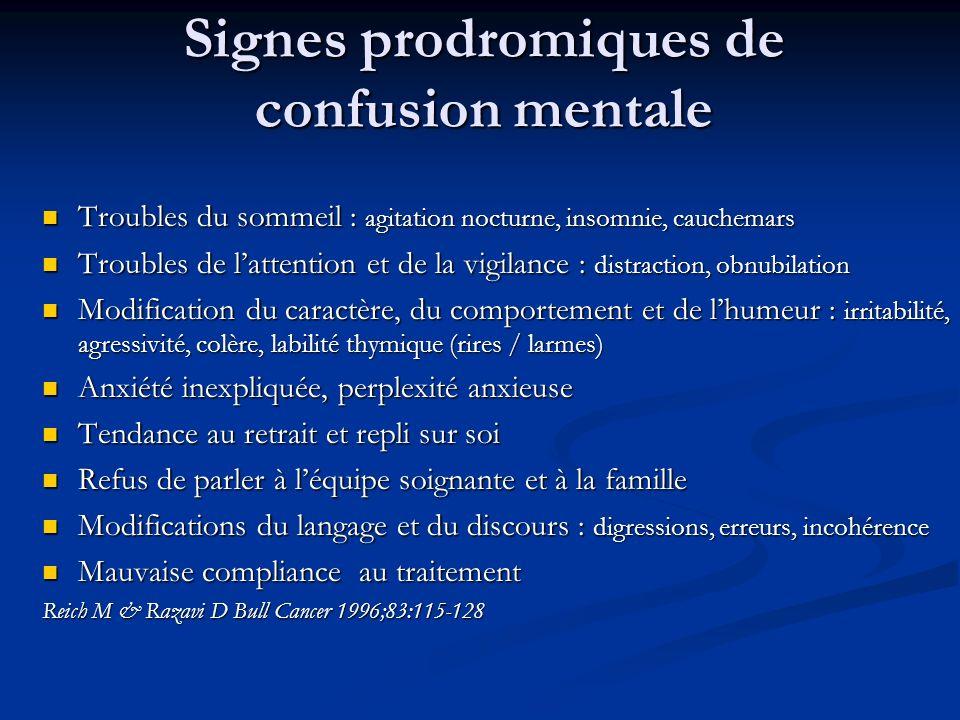 Signes prodromiques de confusion mentale Troubles du sommeil : agitation nocturne, insomnie, cauchemars Troubles du sommeil : agitation nocturne, inso