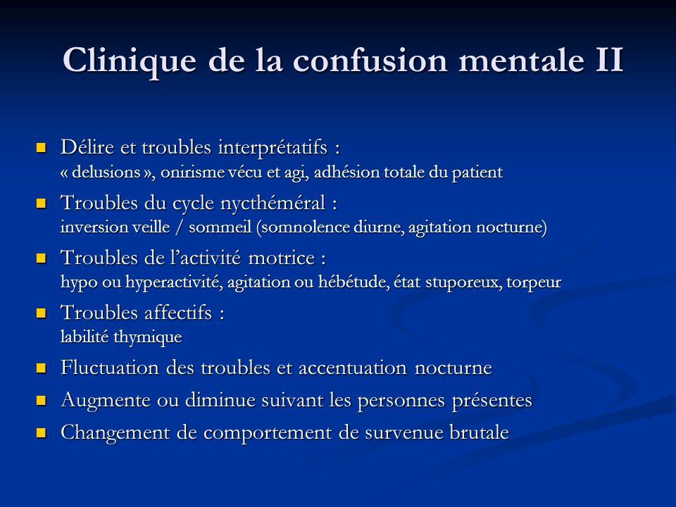 Clinique de la confusion mentale II Délire et troubles interprétatifs : « delusions », onirisme vécu et agi, adhésion totale du patient Délire et trou