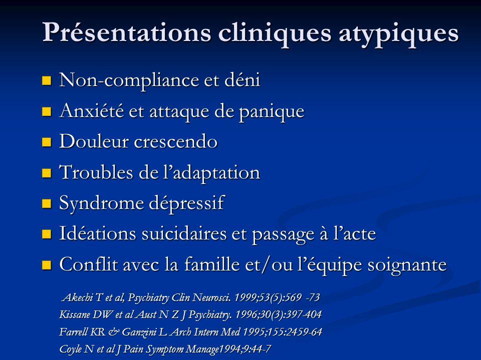 Présentations cliniques atypiques Non-compliance et déni Non-compliance et déni Anxiété et attaque de panique Anxiété et attaque de panique Douleur cr