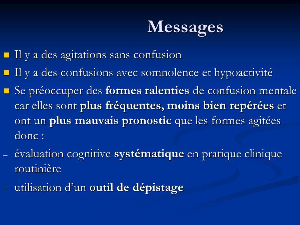 Messages Il y a des agitations sans confusion Il y a des agitations sans confusion Il y a des confusions avec somnolence et hypoactivité Il y a des co