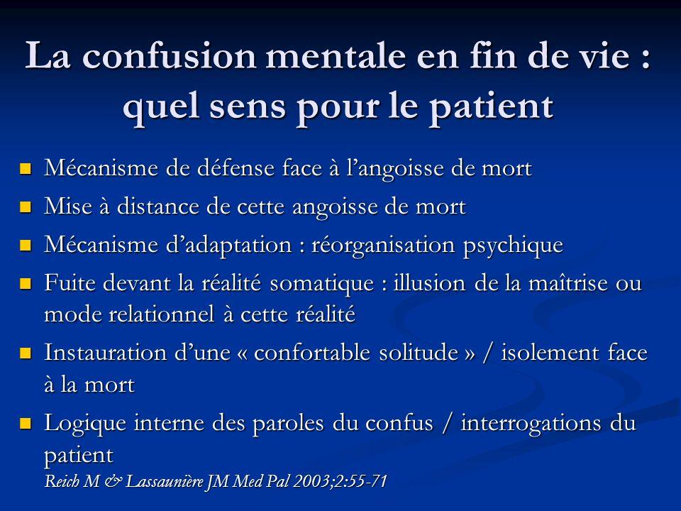 La confusion mentale en fin de vie : quel sens pour le patient Mécanisme de défense face à langoisse de mort Mécanisme de défense face à langoisse de
