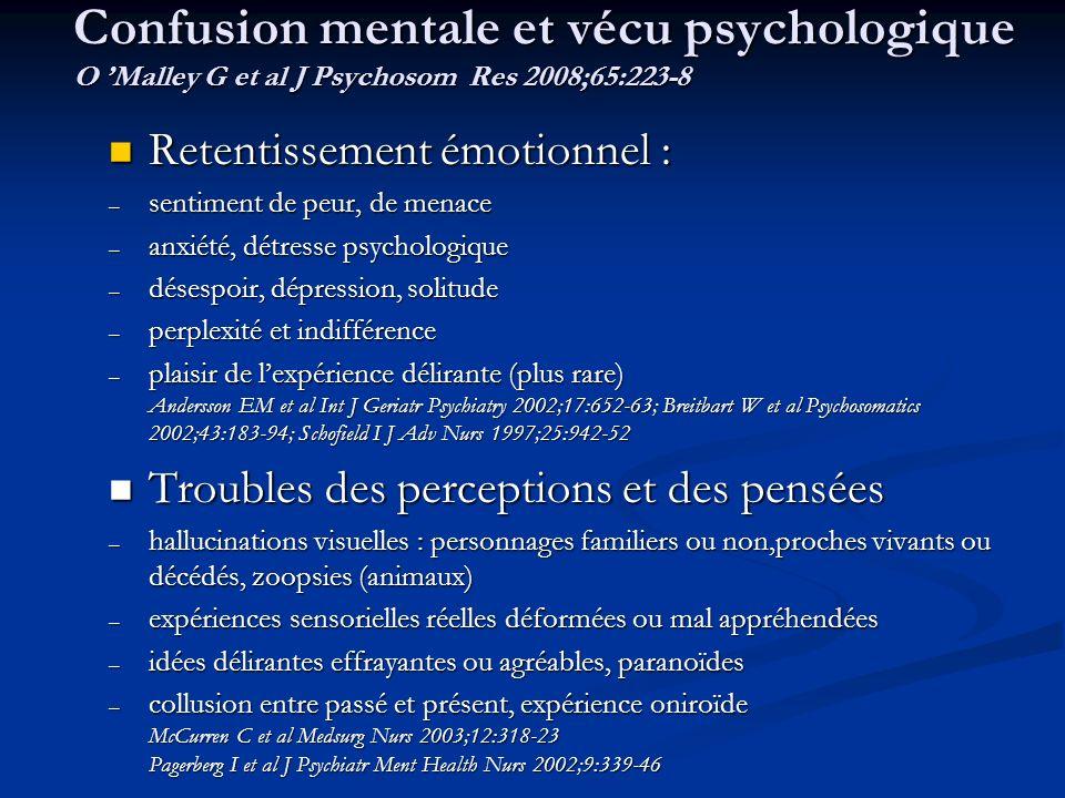 Confusion mentale et vécu psychologique O Malley G et al J Psychosom Res 2008;65:223-8 Retentissement émotionnel : Retentissement émotionnel : – senti