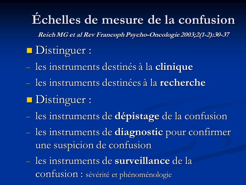 Échelles de mesure de la confusion Reich MG et al Rev Francoph Psycho-Oncologie 2003;2(1-2):30-37 Distinguer : Distinguer : les instruments destinés à