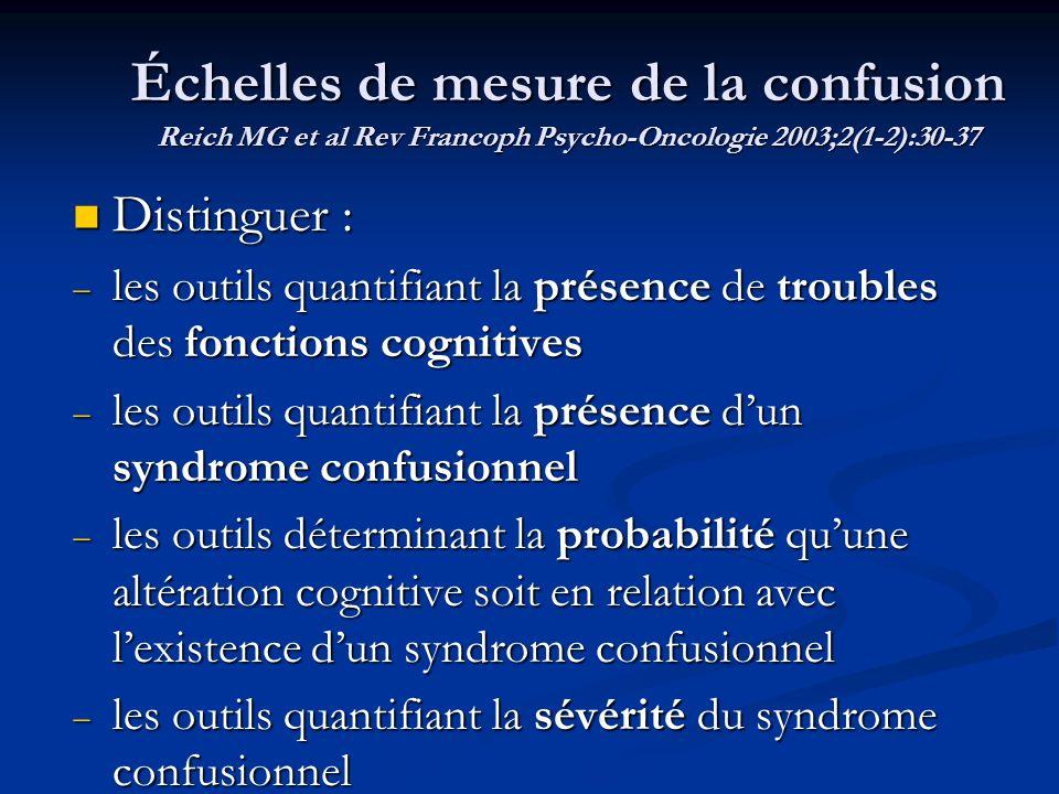 Échelles de mesure de la confusion Reich MG et al Rev Francoph Psycho-Oncologie 2003;2(1-2):30-37 Distinguer : Distinguer : les outils quantifiant la
