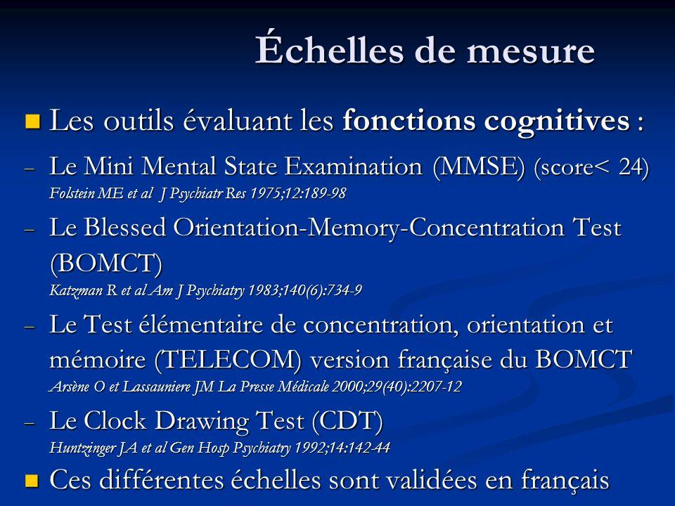 Échelles de mesure Les outils évaluant les fonctions cognitives : Les outils évaluant les fonctions cognitives : Le Mini Mental State Examination (MMSE) (score< 24) Folstein ME et al J Psychiatr Res 1975;12:189-98 Le Mini Mental State Examination (MMSE) (score< 24) Folstein ME et al J Psychiatr Res 1975;12:189-98 Le Blessed Orientation-Memory-Concentration Test (BOMCT) Katzman R et al Am J Psychiatry 1983;140(6):734-9 Le Blessed Orientation-Memory-Concentration Test (BOMCT) Katzman R et al Am J Psychiatry 1983;140(6):734-9 Le Test élémentaire de concentration, orientation et mémoire (TELECOM) version française du BOMCT Arsène O et Lassauniere JM La Presse Médicale 2000;29(40):2207-12 Le Test élémentaire de concentration, orientation et mémoire (TELECOM) version française du BOMCT Arsène O et Lassauniere JM La Presse Médicale 2000;29(40):2207-12 Le Clock Drawing Test (CDT) Huntzinger JA et al Gen Hosp Psychiatry 1992;14:142-44 Le Clock Drawing Test (CDT) Huntzinger JA et al Gen Hosp Psychiatry 1992;14:142-44 Ces différentes échelles sont validées en français Ces différentes échelles sont validées en français