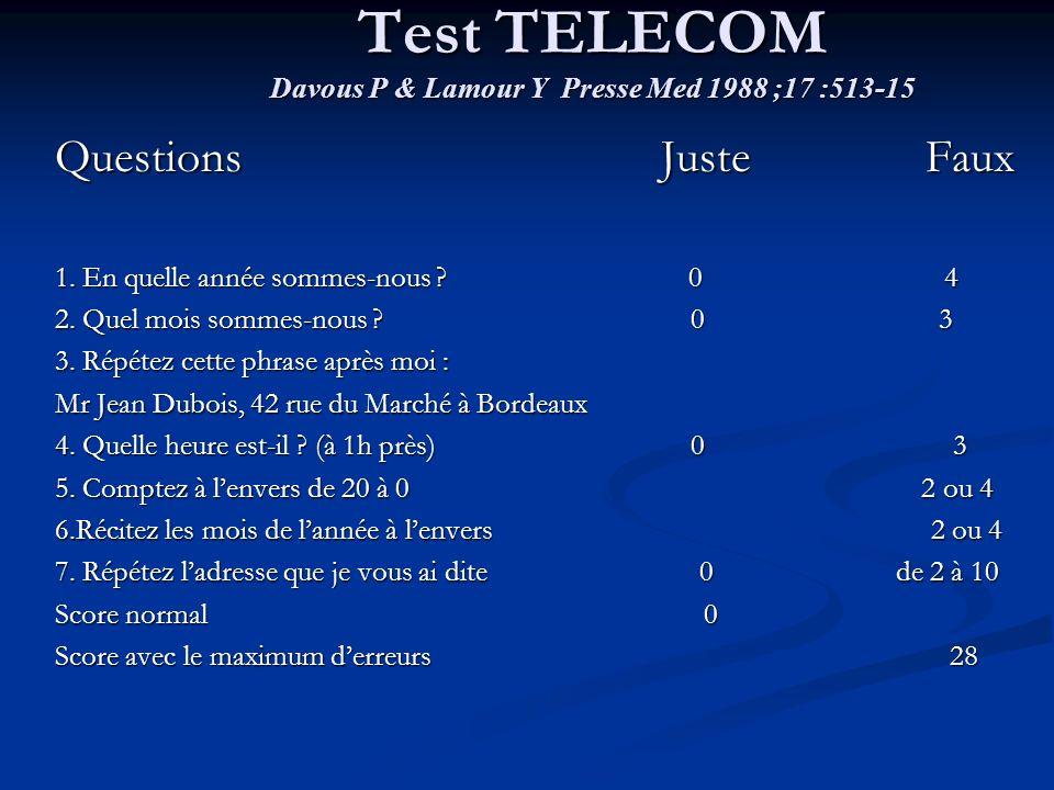 Test TELECOM Davous P & Lamour Y Presse Med 1988 ;17 :513-15 Questions Juste Faux 1. En quelle année sommes-nous ? 0 4 2. Quel mois sommes-nous ? 0 3