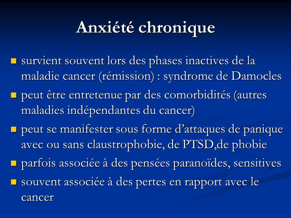 Anxiété chronique survient souvent lors des phases inactives de la maladie cancer (rémission) : syndrome de Damocles survient souvent lors des phases