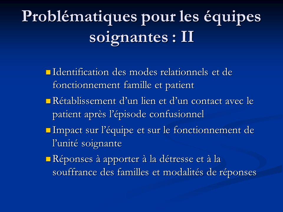 Problématiques pour les équipes soignantes : II Identification des modes relationnels et de fonctionnement famille et patient Identification des modes