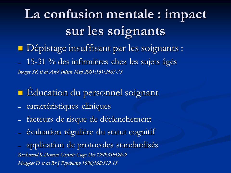 La confusion mentale : impact sur les soignants Dépistage insuffisant par les soignants : Dépistage insuffisant par les soignants : – 15-31 % des infi