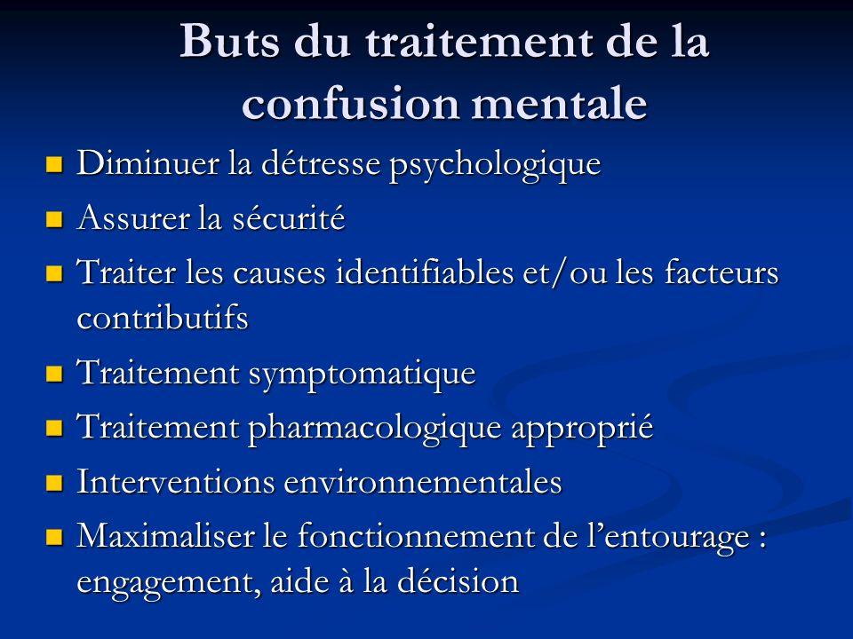 Buts du traitement de la confusion mentale Diminuer la détresse psychologique Diminuer la détresse psychologique Assurer la sécurité Assurer la sécuri