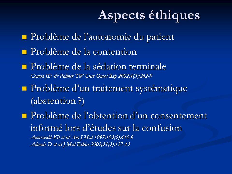 Aspects éthiques Aspects éthiques Problème de lautonomie du patient Problème de lautonomie du patient Problème de la contention Problème de la content
