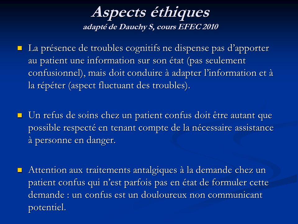 La présence de troubles cognitifs ne dispense pas dapporter au patient une information sur son état (pas seulement confusionnel), mais doit conduire à adapter linformation et à la répéter (aspect fluctuant des troubles).