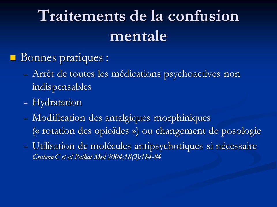 Traitements de la confusion mentale Bonnes pratiques : Bonnes pratiques : Arrêt de toutes les médications psychoactives non indispensables Arrêt de to