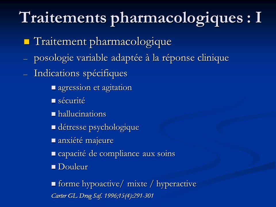 Traitements pharmacologiques : I Traitement pharmacologique Traitement pharmacologique – posologie variable adaptée à la réponse clinique – Indication