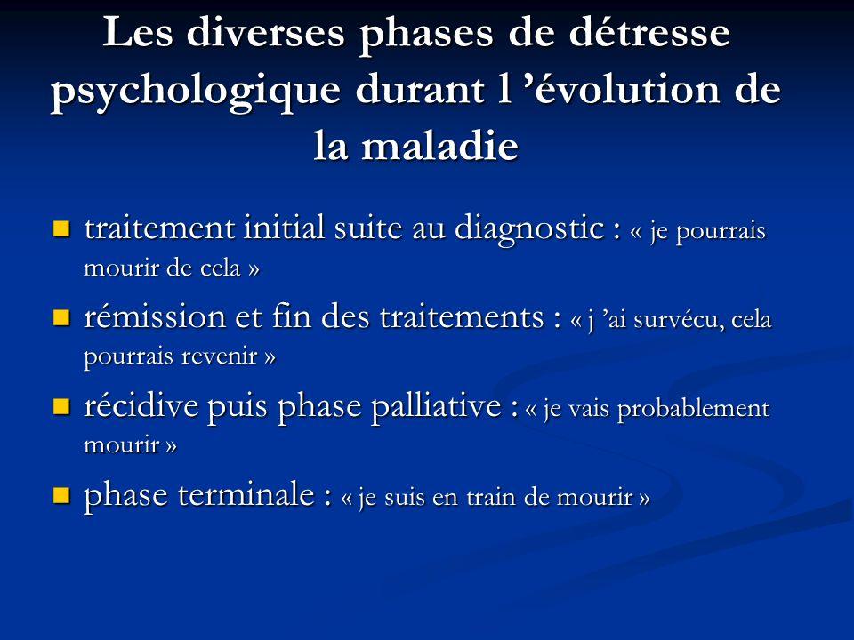 Les diverses phases de détresse psychologique durant l évolution de la maladie traitement initial suite au diagnostic : « je pourrais mourir de cela »